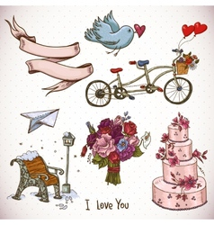 doodle set elements valentines day and wedding vector image