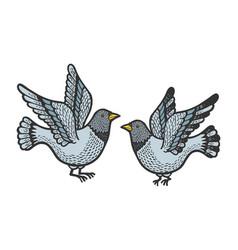 dove pigeon birds tattoo color sketch engraving vector image