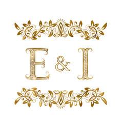 E and i vintage initials logo symbol vector