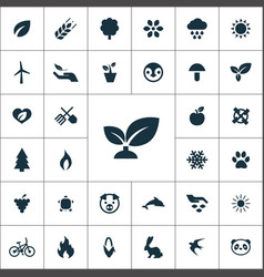 ecology icons universal set for web and ui vector image