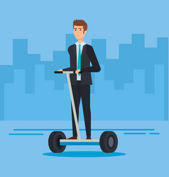 Elegant businessman riding electric scooter vector