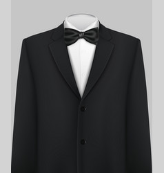 Elegant suit and tuxedo with bow tie vector