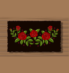 Embroidery flowers with sprigs on a dark flap vector