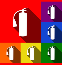 fire extinguisher sign set of icons with vector image
