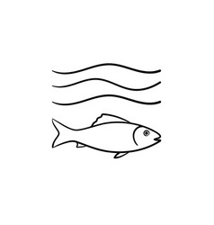 Fish under sea wave hand drawn sketch icon vector
