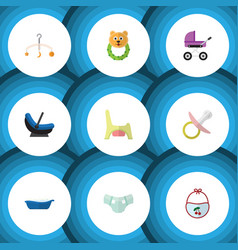 Flat icon infant set of nappy stroller bathtub vector