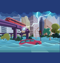 Flood and storm natural disaster in modern city vector