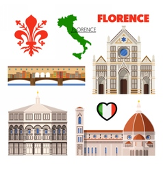 Florence Italy Travel Doodle with Architecture vector image