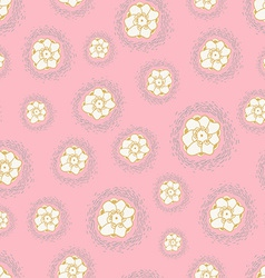 Flowers seamless texture on pastel background vector