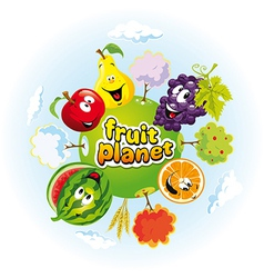Fruit planet vector