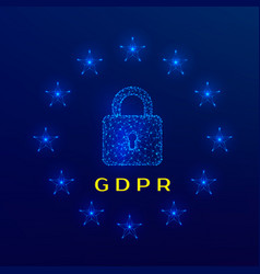 general data protection regulation gdpr padlock vector image