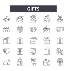 gifts line icons signs set outline vector image