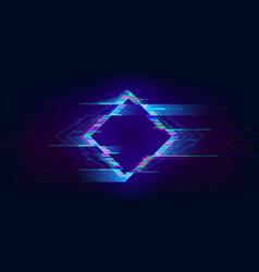 Glitch rhombus distorted glowing rhombus vector