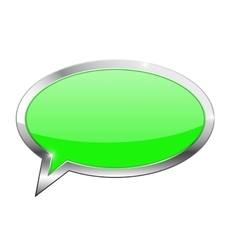 Green dialog bubble with chrome frame vector