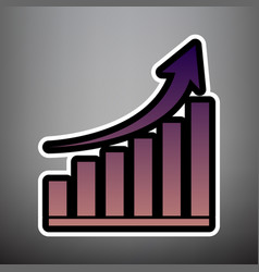growing graph sign violet gradient icon vector image
