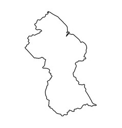 guyana map of black contour curves on white vector image