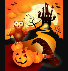 halloween background in orange vector image
