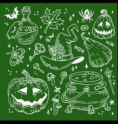 halloween doodles set decoration for vector image
