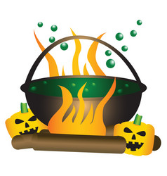 Halloween theme of a bubbling witch cauldron vector