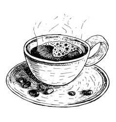 Hand drawn coffee cup sketch vector
