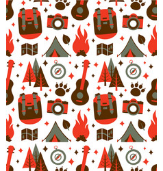 hipster nature travel adventure seamless pattern vector image
