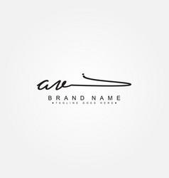 Initial letter av logo - handwritten signature vector