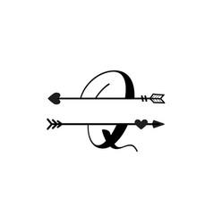 Initial q love monogram split letter isolated vector