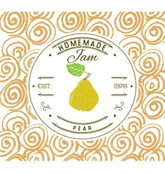 Jam label design template for pear dessert product vector