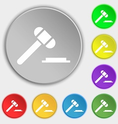 judge hammer icon Symbols on eight flat buttons vector image