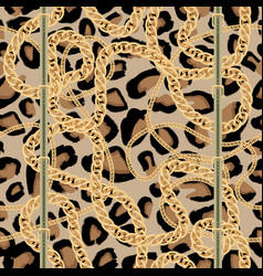 leopard seamless pattern with golden chain and vector image