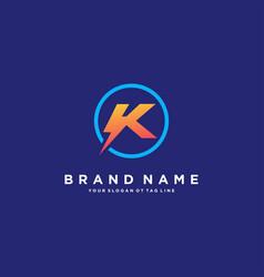 Letter k flash electrical logo design vector