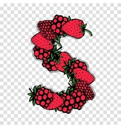 Letter S made from red berries sketch for your vector image