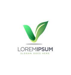 letter v leaf logo icon template vector image