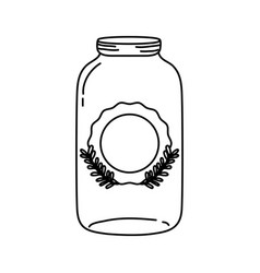line long mason glass with sticker and branches vector image