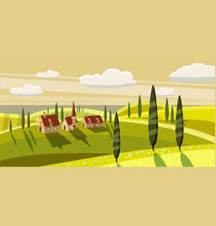 Lovely countryside farm village grazing cows vector