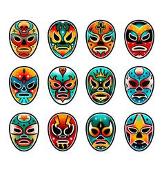 Lucha libre luchador wrestling show masks set vector