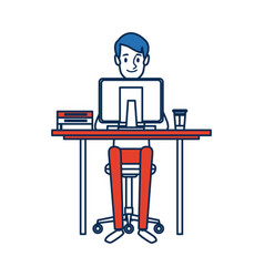 Man character sitting working desk computer vector