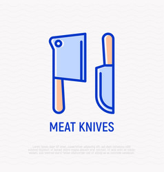 meat knives thin line icon vector image