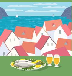 Mediterranean kitchen concept vector