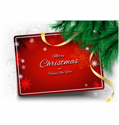 merry christmas background with frame text and vector image