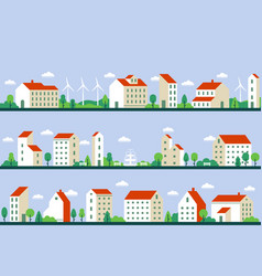 minimal city panorama townhouses buildings vector image