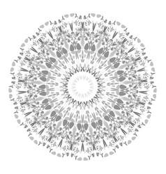 Monochrome floral mandala - circular graphic vector