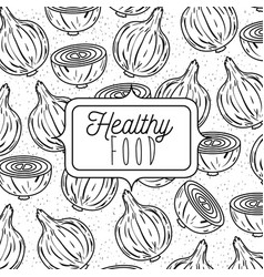 monochrome poster of healthy food with background vector image