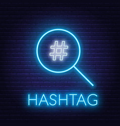 Neon hashtag search sign on brick wall background vector