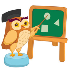 of cartoon owl teacher vector image