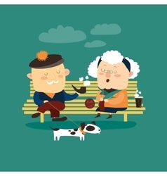 Old couple sitting on bench vector