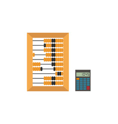 old wooden abacus and calculator isolated on a vector image