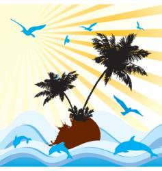 Palms sea floral vector