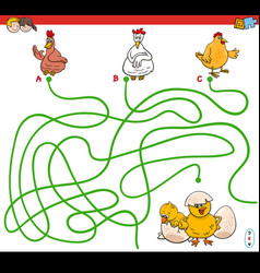 Paths maze game with hens and chickens vector