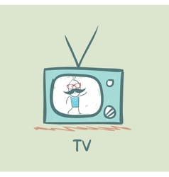 people on TV vector image